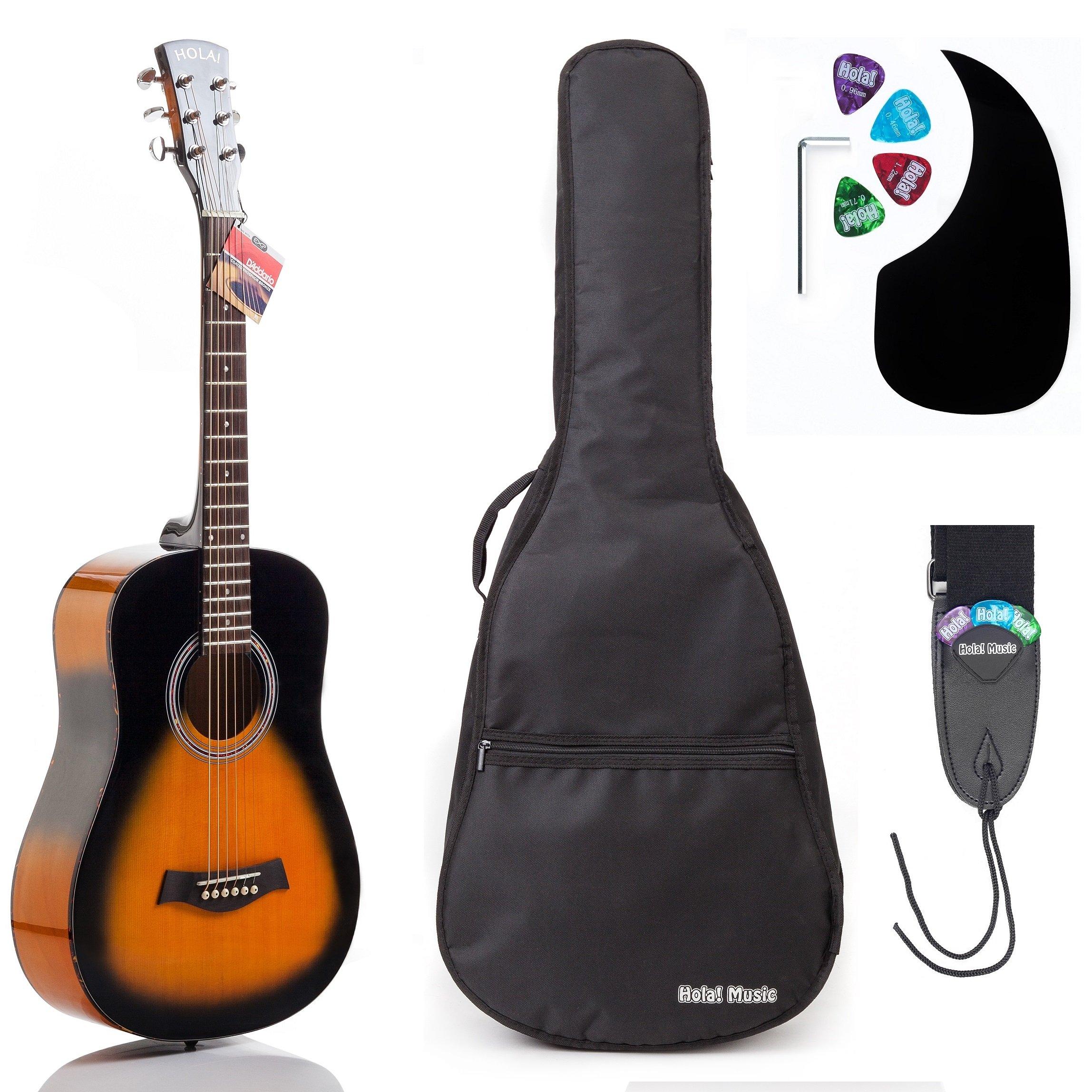 Acoustic Guitar Bundle Junior (Travel) Series by Hola! Music with D'Addario EXP16 Steel Strings, Padded Gig Bag, Guitar Strap and Picks, 3/4 Size 36 Inch (Model HG-36SB), Vintage Sunburst