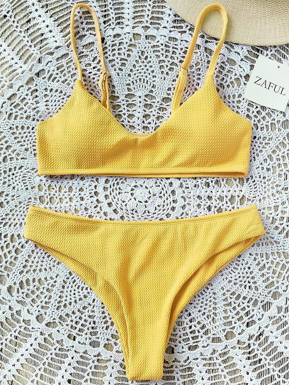 ZAFUL Bikini Femme Maillot de Bain Femme 2 pi/èces Haut Coupe Bikini Push Up Triangle Swimwear Plage