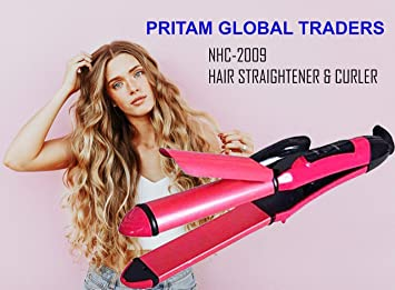 Nova Nhc 2009 Curler And Straightener For Hair Beauty  set Of 2 In 1  pink  Straighteners