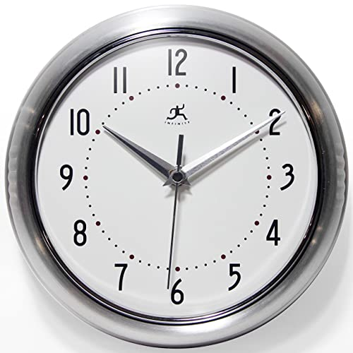 Infinity Instruments Retro Silver 9.5 Inch Wall Clock