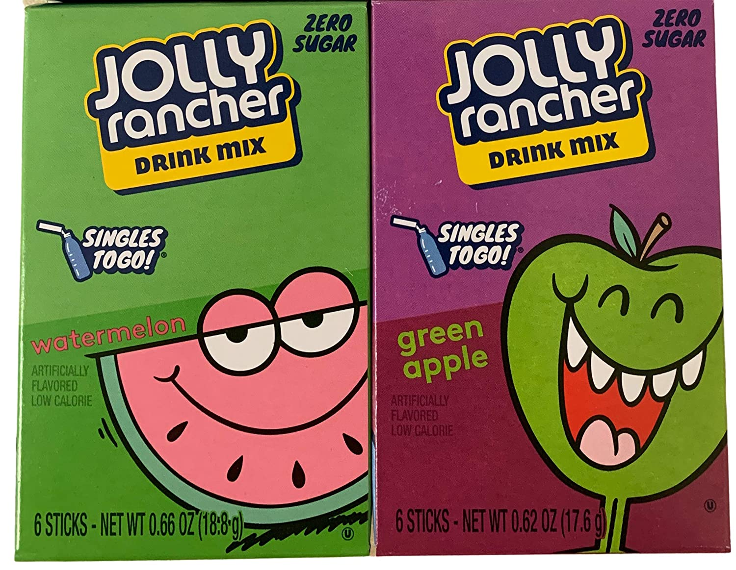 Jolly Rancher Singles-To-Go Sugar Free Bundle of Green Apple and Watermelon Kosher Drink Mix, 6-ct