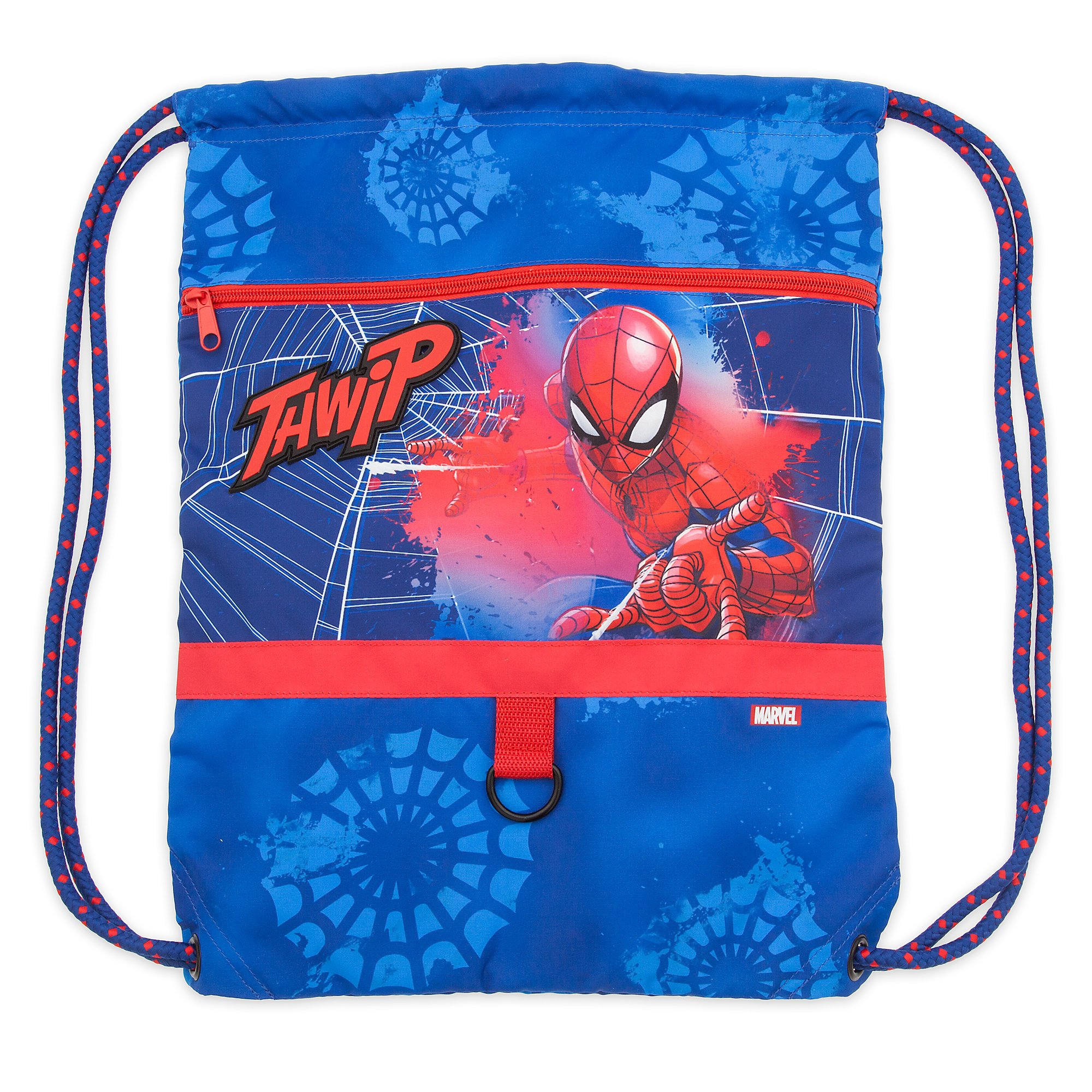 Disney Spider-Man Swim Bag for Kids w zipper Pocket and Cinch Top Closure