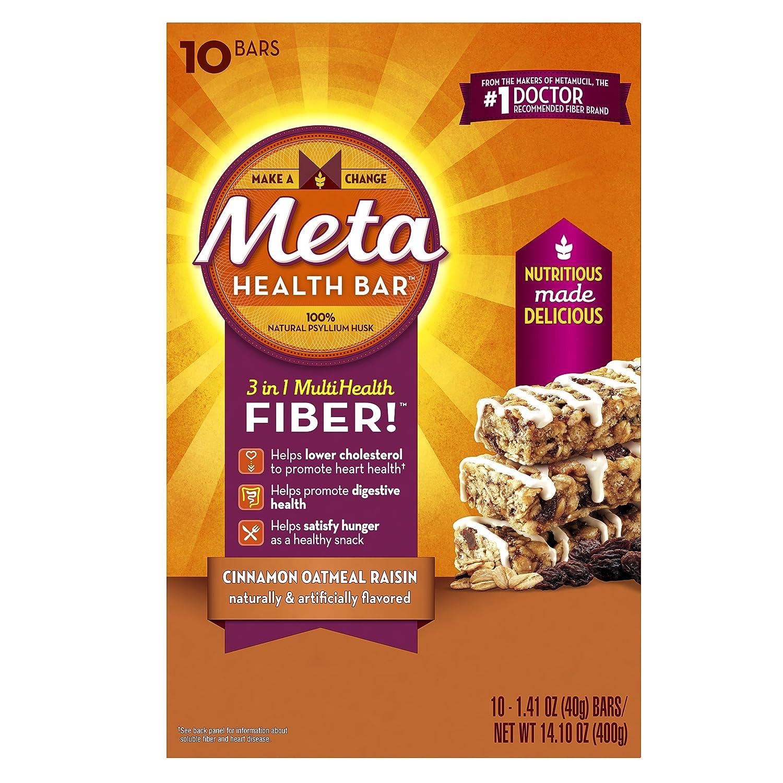 Ingredients in meta health bars - Amazon Com Meta Health Fiber Bar 100 Natural Psyllium Husk Cinnamon Oatmeal Raisin 10 Bars Health Personal Care