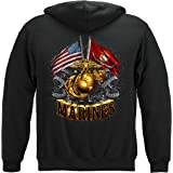 Marine Corps Hooded Sweat Shirt Double Flag Gold Globe Marine Corps MM2153SW