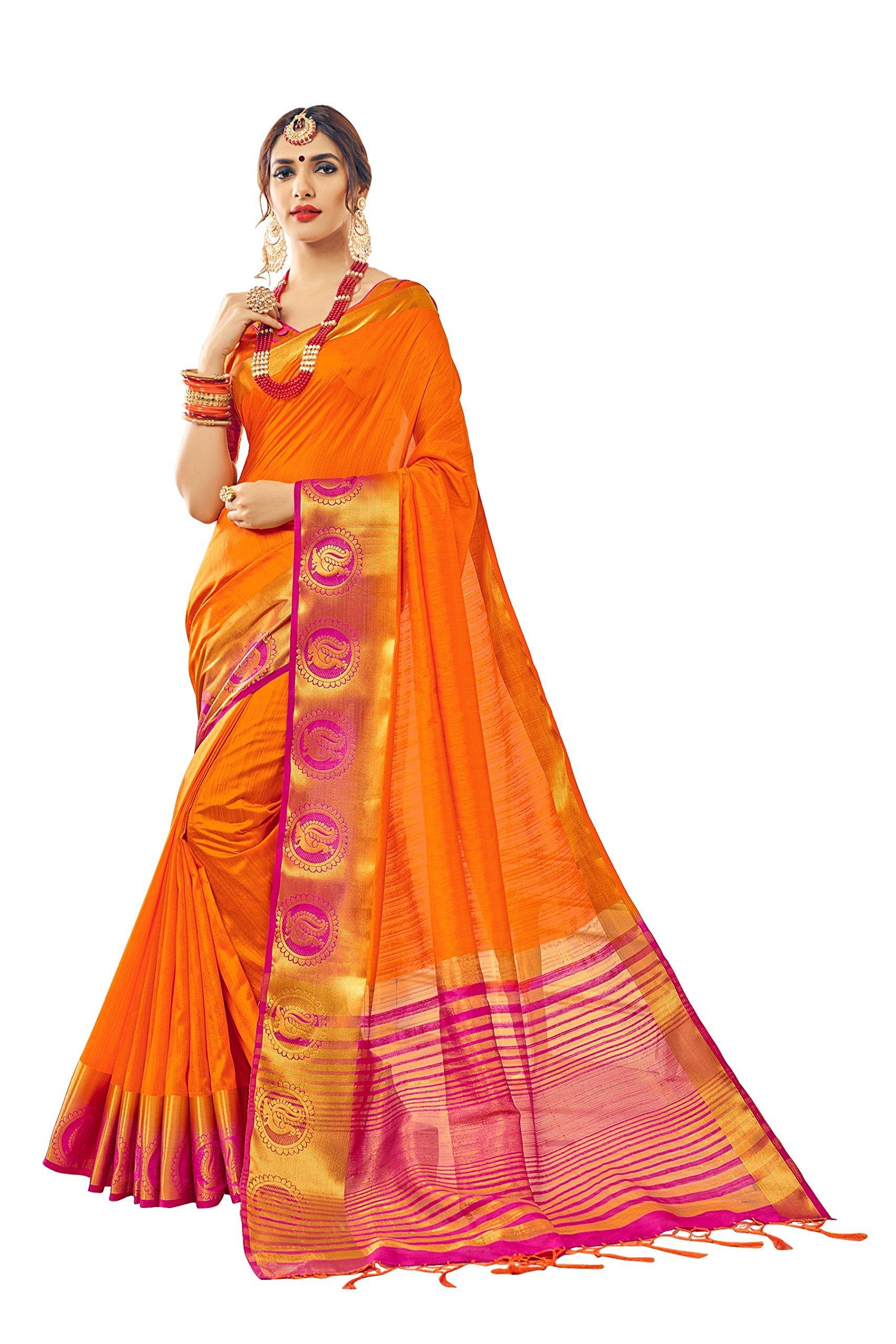 Urban India Women's Nylon Silk Jacquard Saree Free Size Orange