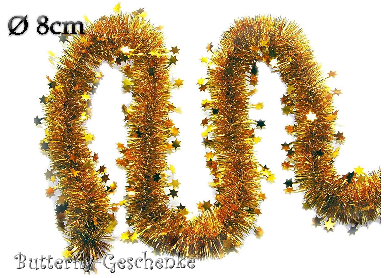 3m Weihnachtsgirlande O 8cm Mit Sternen Gold Silvester