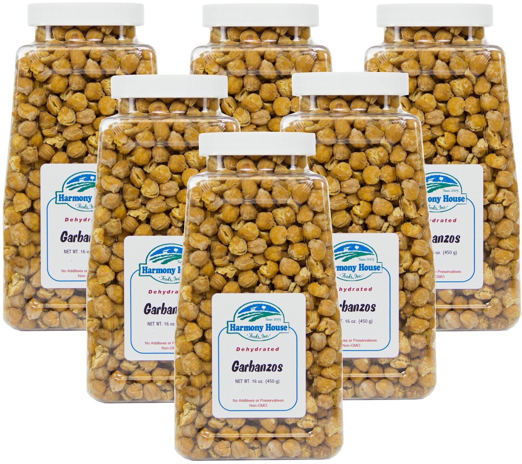 Harmony House Foods Dehydrated Garbanzo Beans (16 Oz Quart Size Jar) - Set of 6