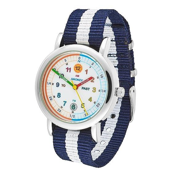 Reloj infantil Amonev, para aprender a leer la hora, para niños y niñas.: Amazon.es: Relojes