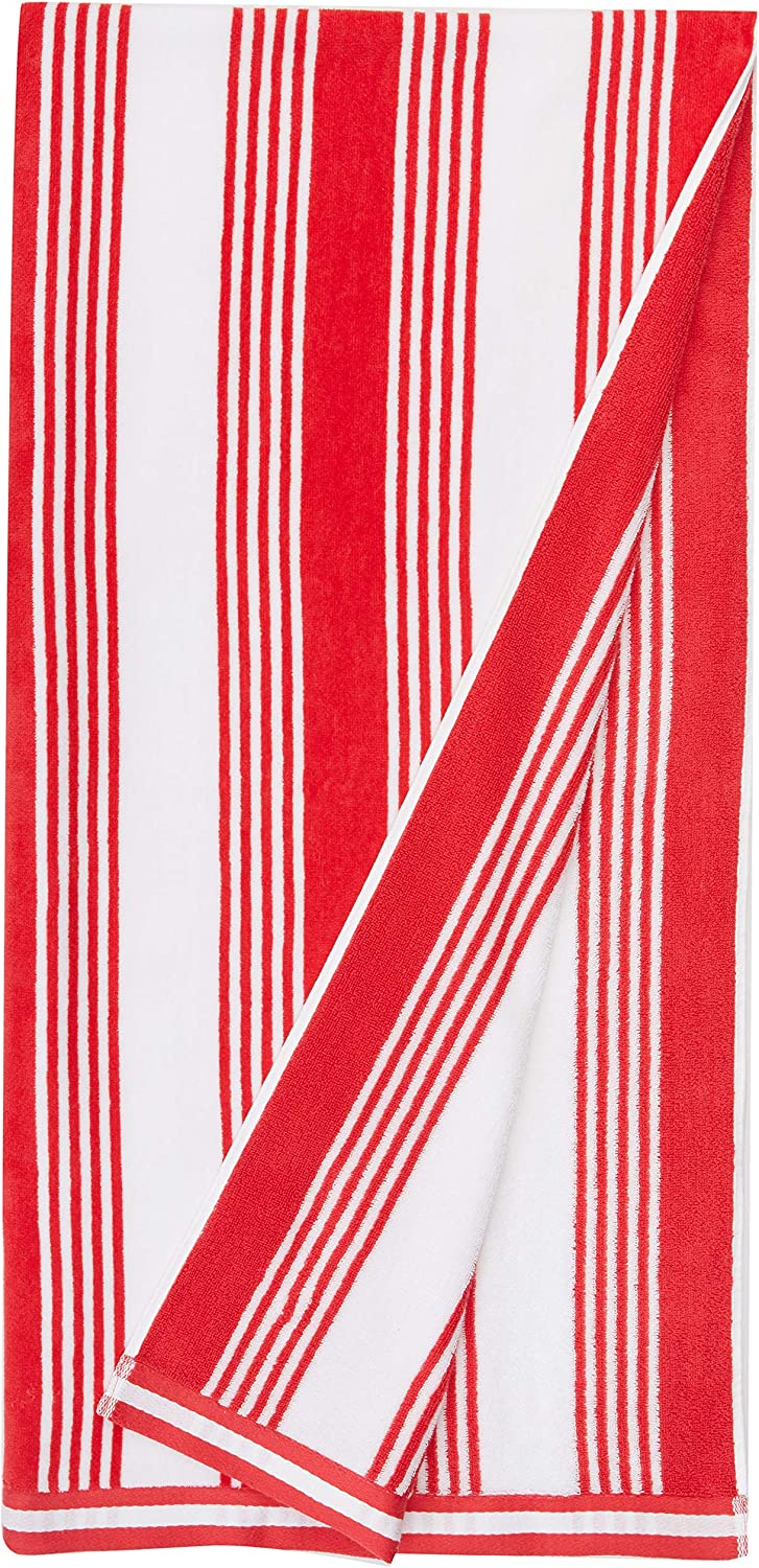 AmazonBasics Oversized Premium Beach Towels - Red Classic Stripes, 2-Pack