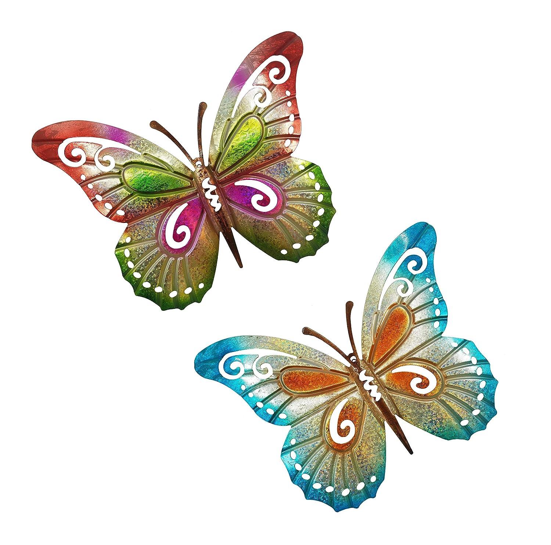 OSW Metal Butterfly Outdoor Garden Wall Decor or Indoor Living Room, Bedroom, Kitchen, Bathroom - Metallic Glittery Colorful Set of 2 Sculpture Butterflies, 14 x 11 inches
