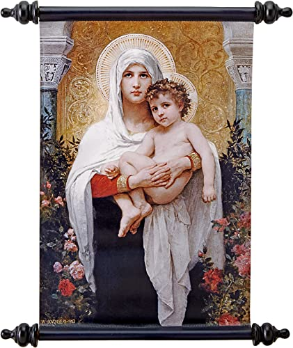 Design Toscano Madonna of The Roses 1903 Canvas Wall Scroll