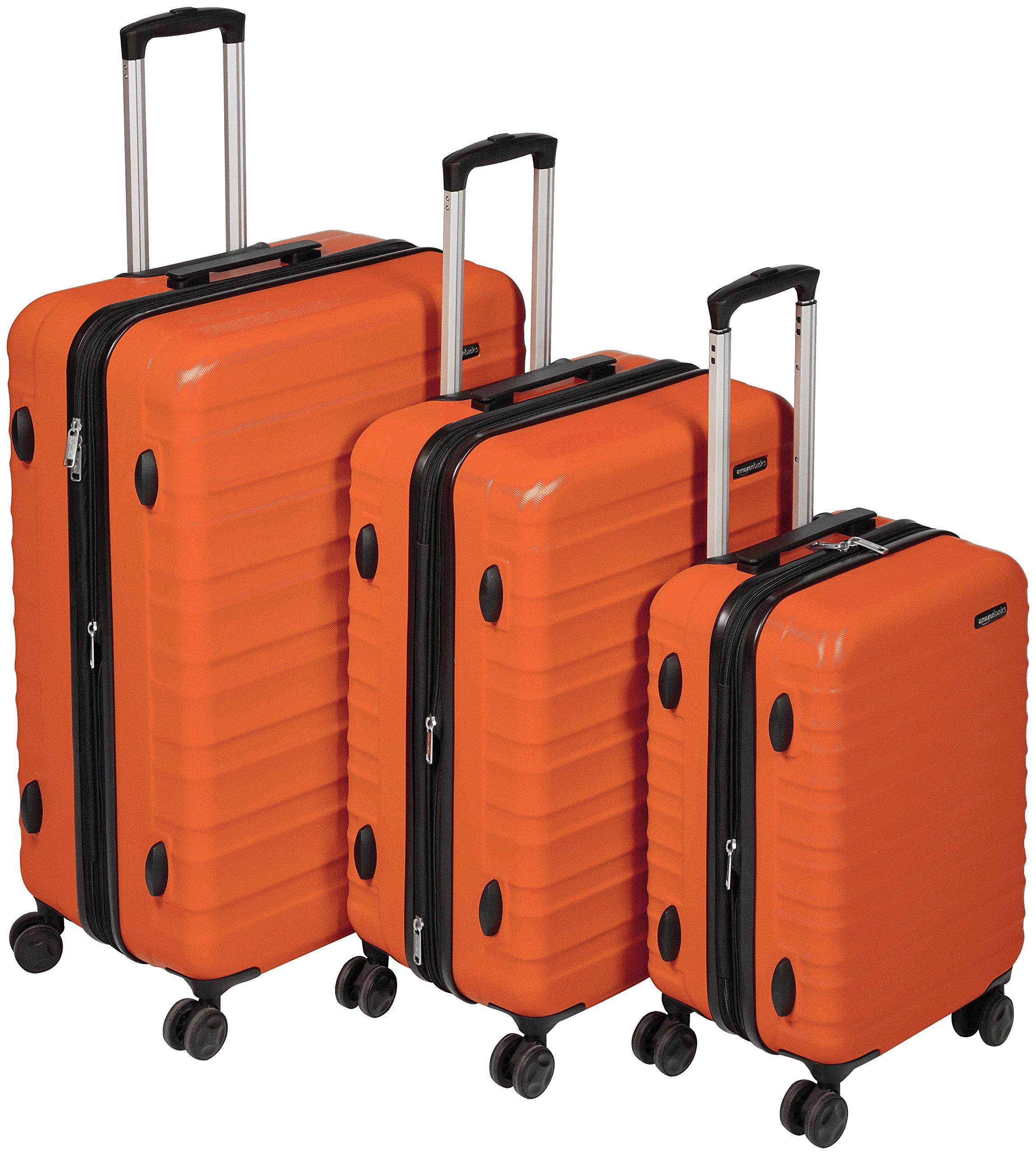 AmazonBasics Hardside Spinner Luggage - 3 Piece Set (20'', 24'', 28''), Burnt Orange