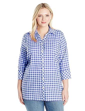 90e008fe637 Foxcroft Women's 3/4 Sleeve Rosita Gingham Tunic at Amazon Women's Clothing  store:
