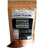 4oz Raw Organic Wild Chaga Mushroom Tea Ground Powder – 100% Natural Hand-Harvested Canadian Forest Chaga Superfood, Healthy Immune System Booster & Antioxidant