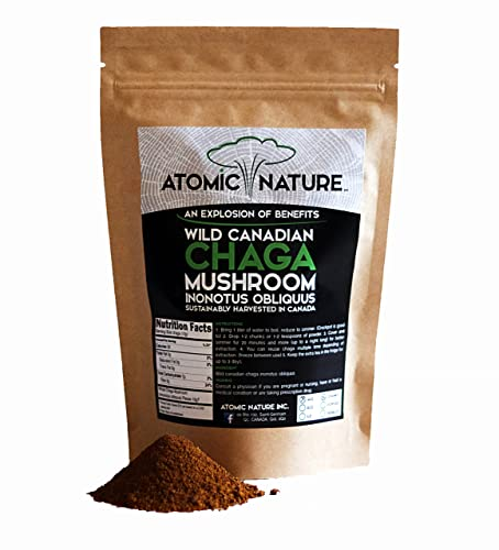 4oz Raw Organic Wild Chaga Mushroom Tea Ground Fine Powder 100 Natural Hand-Harvested Canadian Forest Chaga Superfood, Healthy Immune System Booster Antioxidant