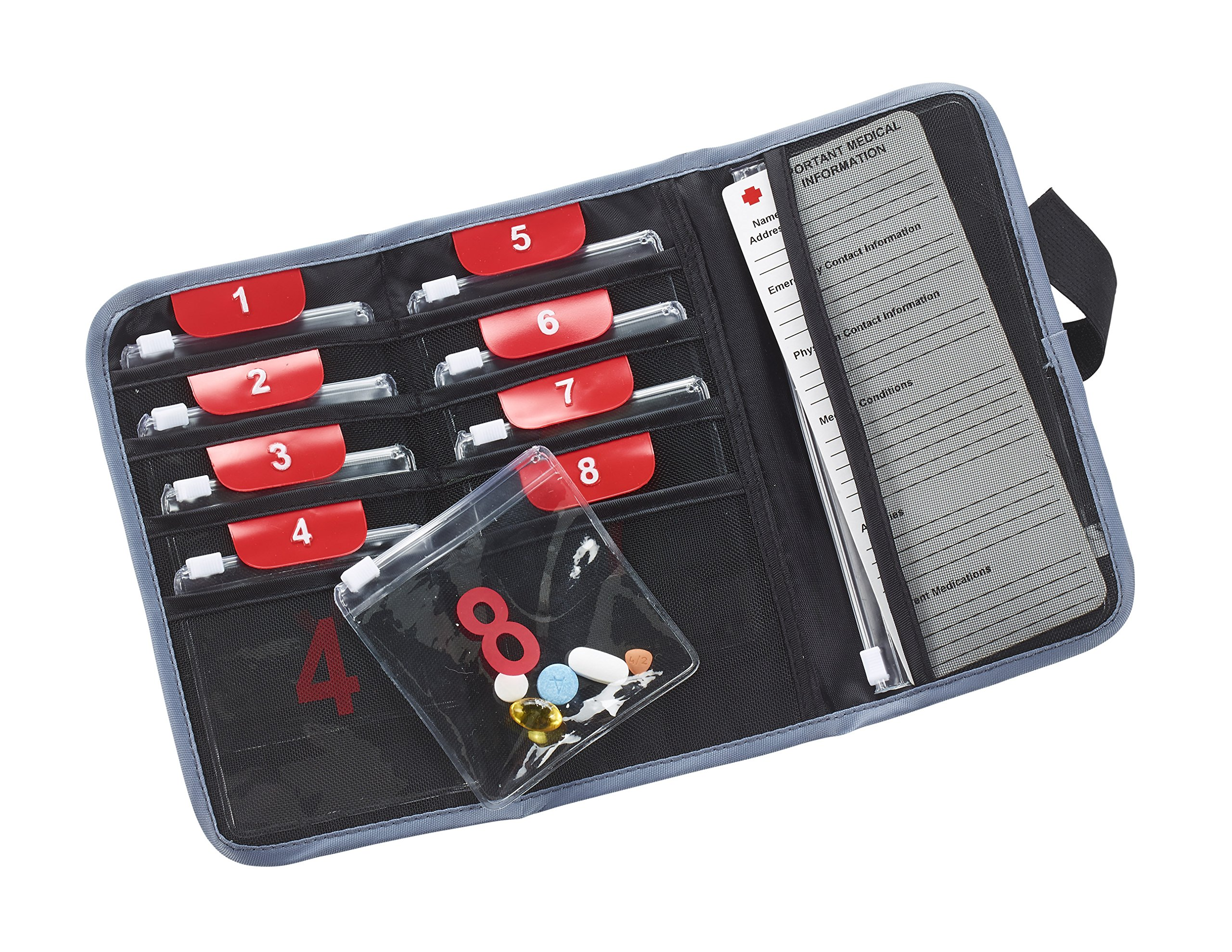 Lewis N. Clark Deluxe Pill Organizer With 9 Slide-Locking Pouches, Black by Lewis N. Clark (Image #1)