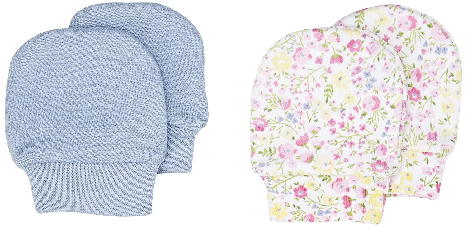 Blue And Floral Scratch Mitts - 2 Pack Mothercare