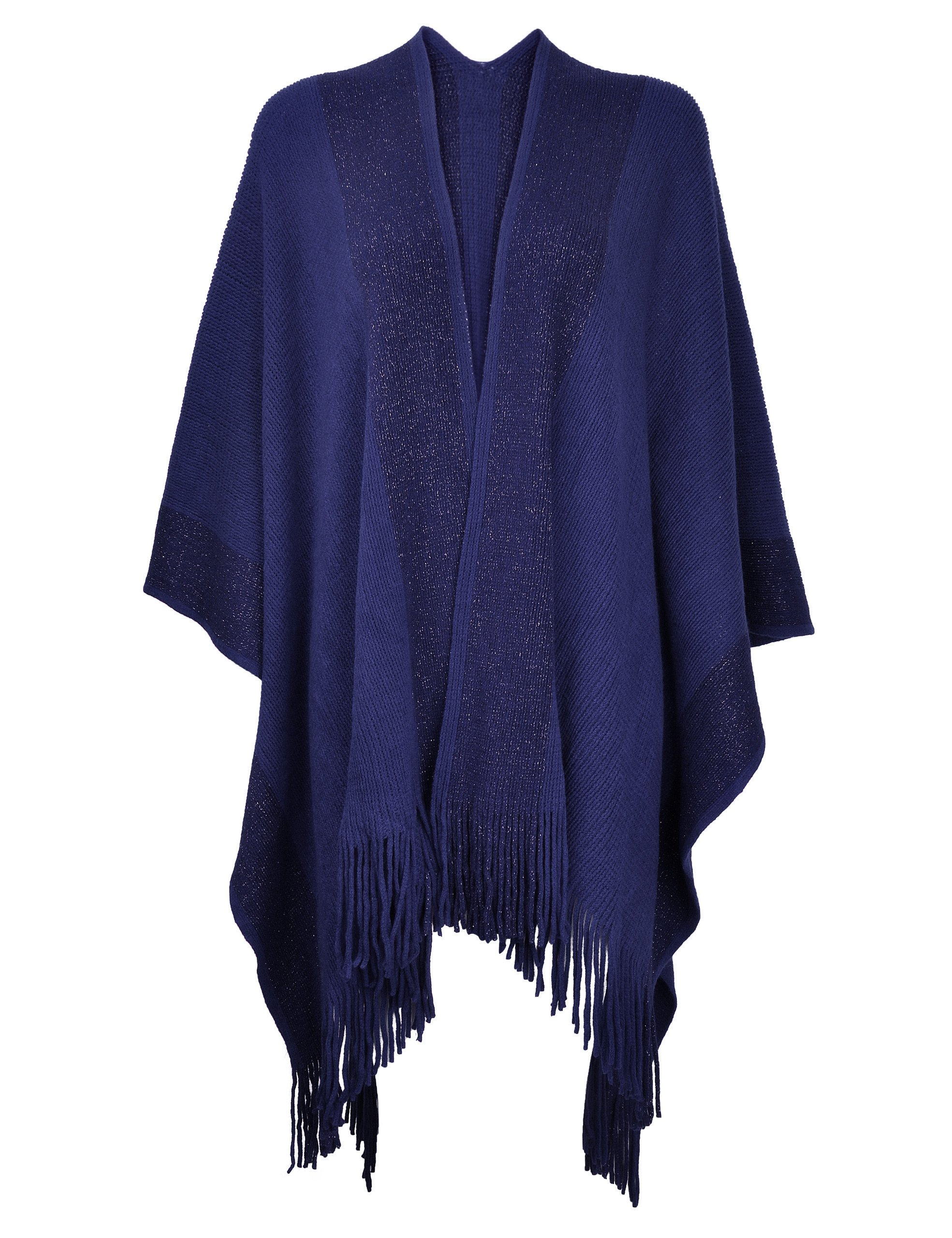 ZLYC Women's Shawl Golden Trim Knit Blanket Wrap Fringe Poncho Coat Cardigan (Navy)