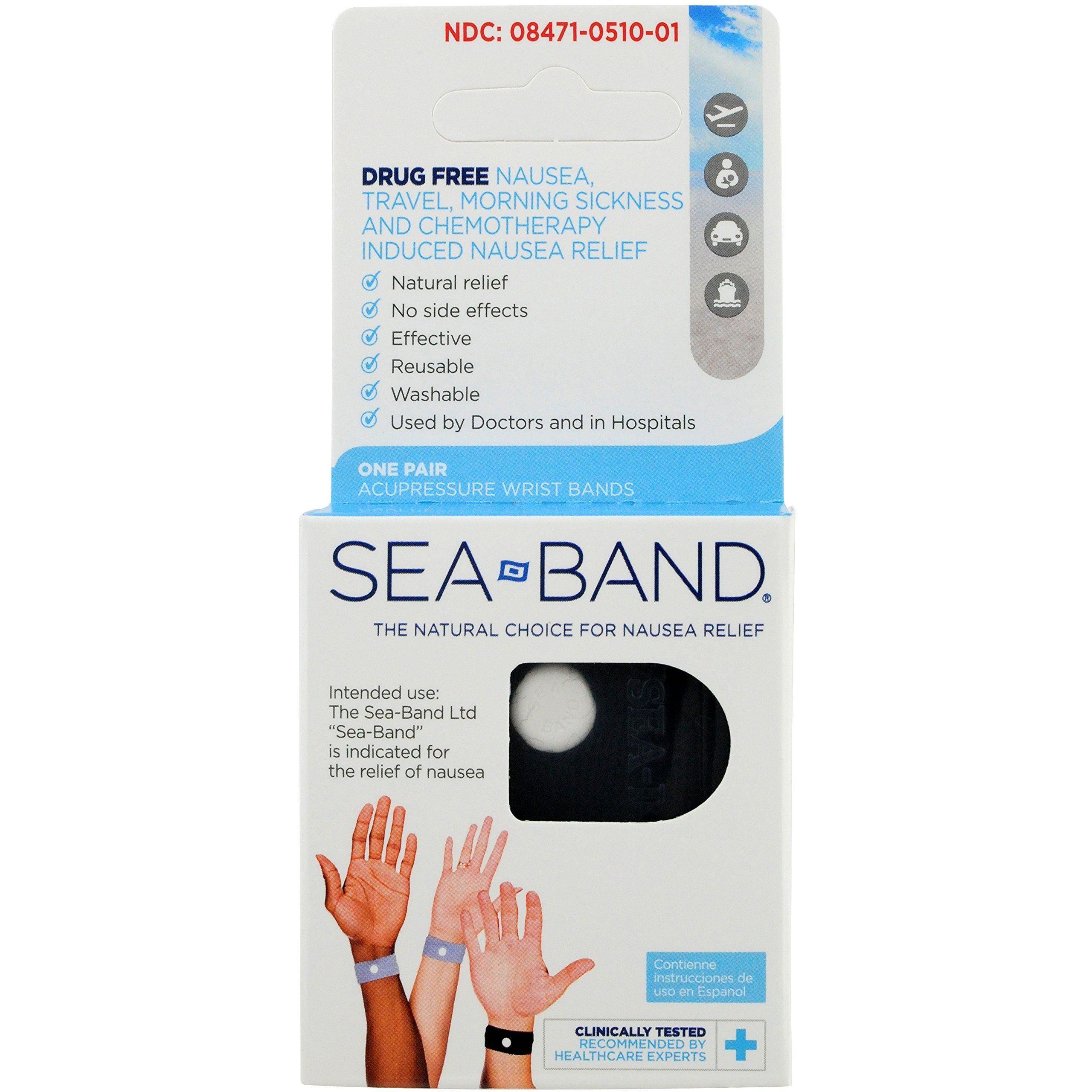 Sea-Band Adult Wristband, Natural Nausea Relief, 1-Pair, Colors May Vary