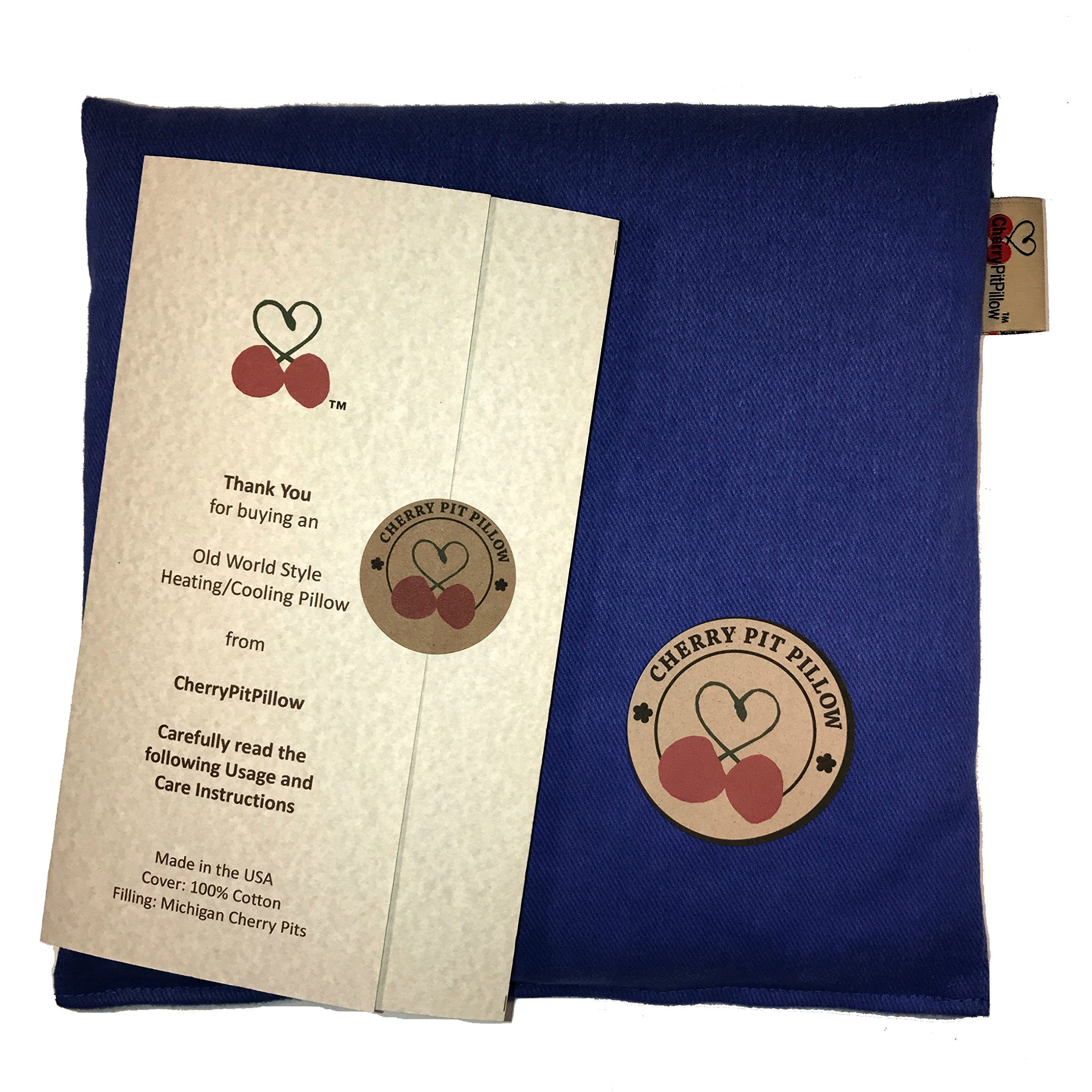 Old World Style Cherry Pit Pillow in Ocean Blue - for Neck, Muscle, Joint, Stomach Pain, Menstrual Cramp Relief - Soft 100% Cotton - Microwavable Natural Cherry Stone Seed Heat Pack Pad - Made in USA by KOYA Naturals