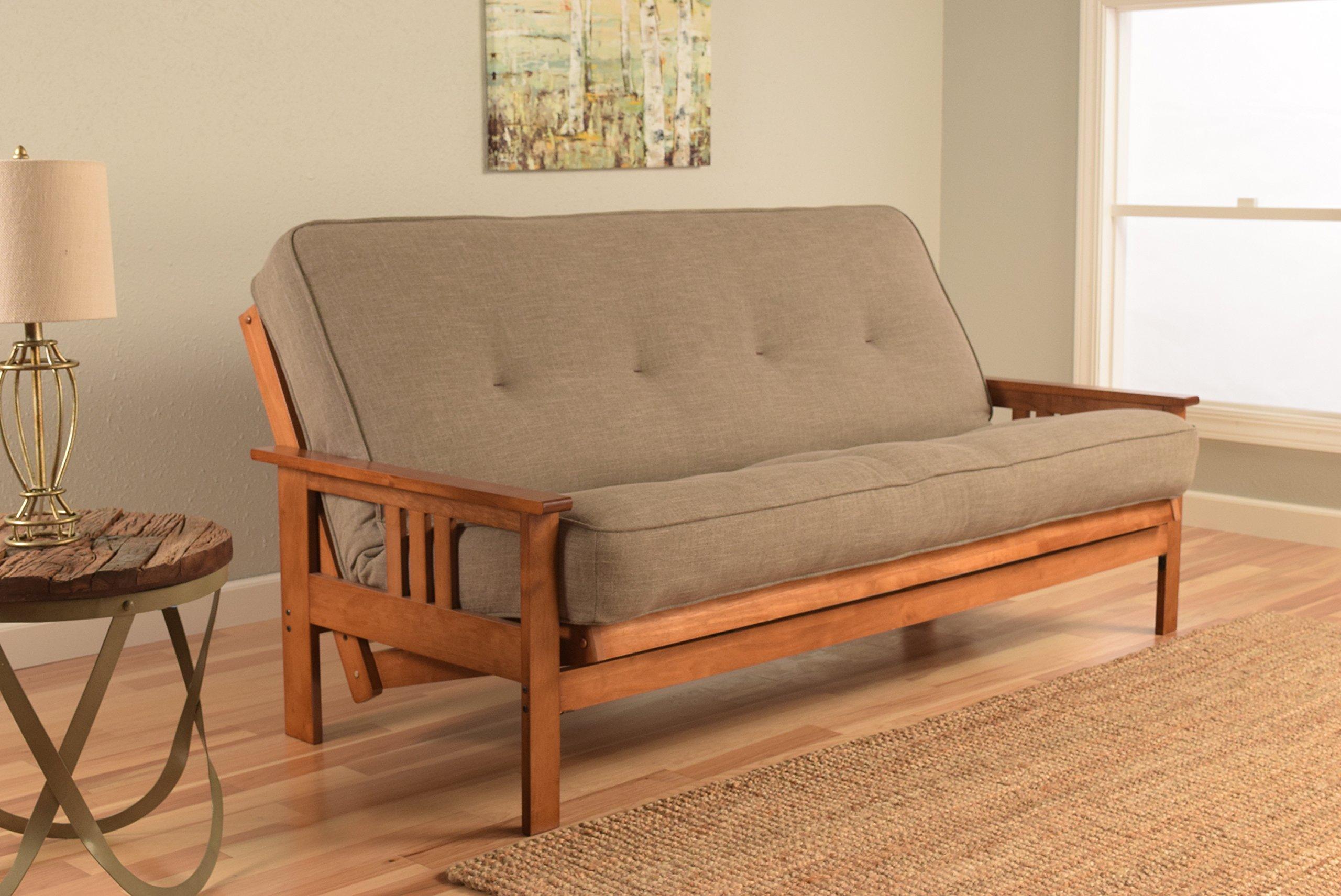 Kodiak Furniture KFMOBBLSTNLF5MD3 Monterey Futon Set with Barbados Finish, Full, Linen Stone by Kodiak Furniture