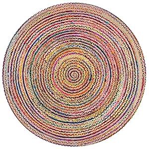 Alfombra de yute de comercio justo hecha a mano, multicolor, india, reciclada, algodón, natural, 90 cms