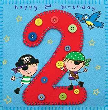 Twizler 2nd Birthday Card For Boy With Pirate And Parrot Two Year