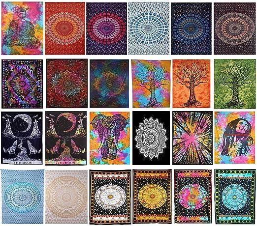 Tye Dye Mandala Flower Small Tapestry Wall Hanging Textile Door Decor Cotton