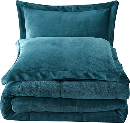 Chezmoi Collection 3-Piece Teal Micro-mink Sherpa Down Alternative Comforter