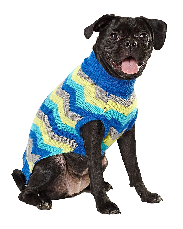 Hotel Doggy DW00023BPLZBG bluee Green Zig Zag Intarsia Sweater, Large