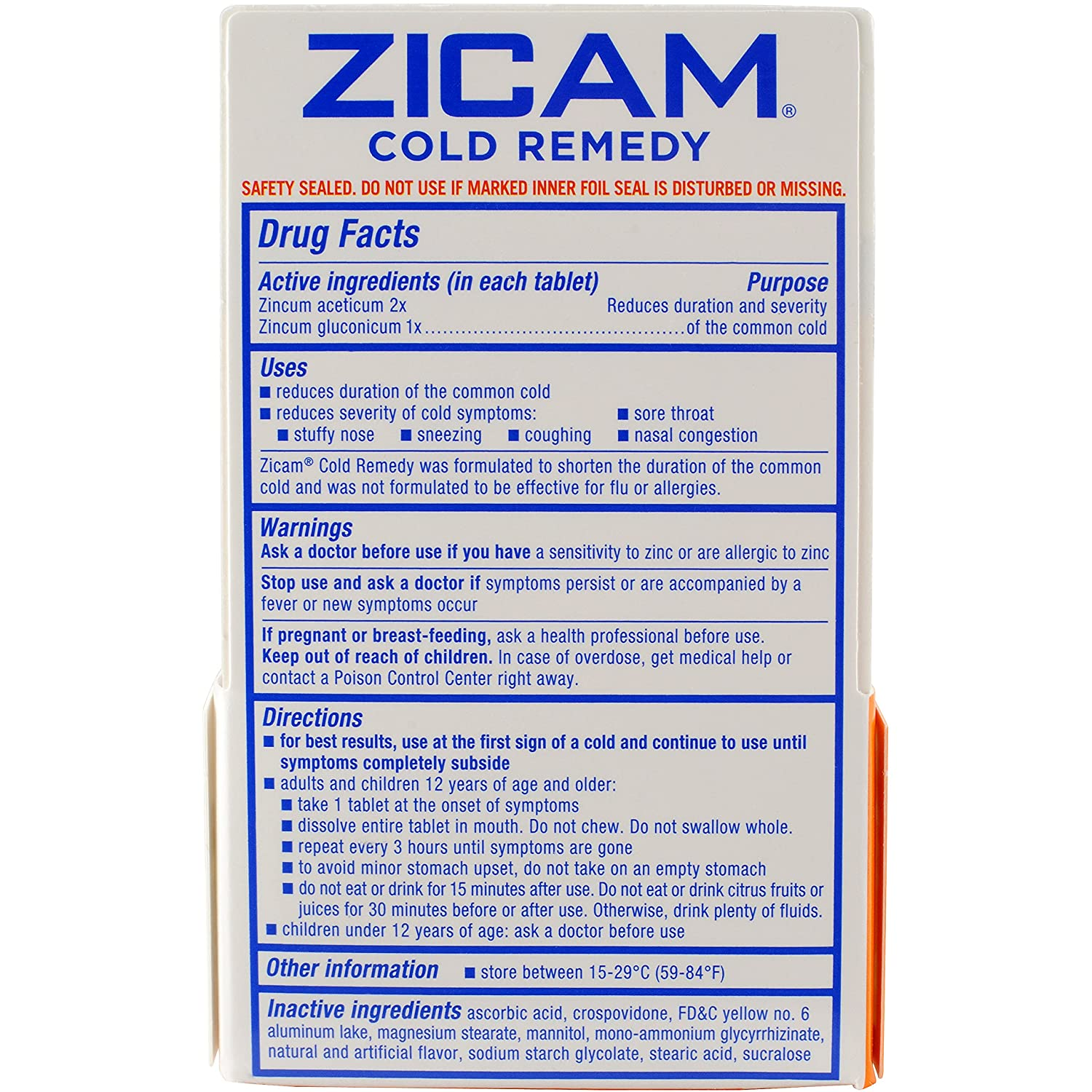 Amazon Com Zicam Cold Remedy Citrus Rapidmelts 25 Quick Dissolve