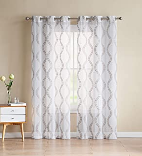 84 L 2 Panel Pair SHEER Window Curtain Panels: White with Gray Bird 2 Flower /& Vine Design Bathroom and More Collection Set of Two
