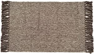 Chindi Rag Rug 3'×5'- Hand Woven Recycled Cotton Area Rug Braid Entryway Floor Mat for Laundry Room Kitchen Bathroom Bedroom Dorm, Coffee & White
