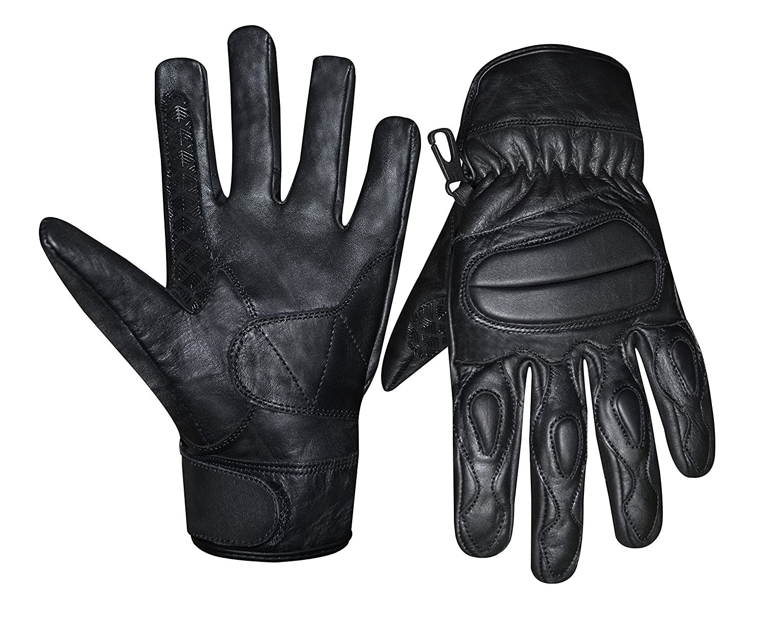 Prime Sports Mens Real Genuine Leather Motorcycle Racing Knuckle Protection Gloves Medium, Black