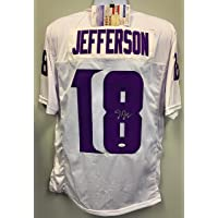 $149 » Justin Jefferson Minnesota Vikings Signed Autograph Custom Jersey White W Purp # JSA Rookie Signature COA