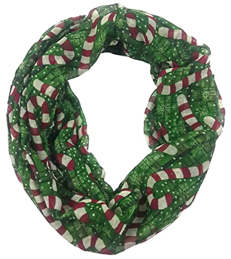 lina lily candy cane print infinity loop womens scarf christmas gift lightweight green