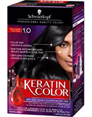 Schwarzkopf Keratin Color Anti-Age Permanent Hair Color Cream, 1.0 Onyx Black, 60 Milliliter (2039467)