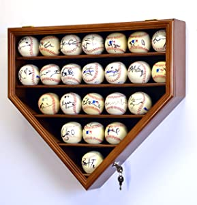 sfDisplay.com, Factory Direct Display Cases 23 Baseball Ball Display Case Cabinet Holder Wall Rack Home Plate Shaped 98% UV Protection- Lockable -Walnut