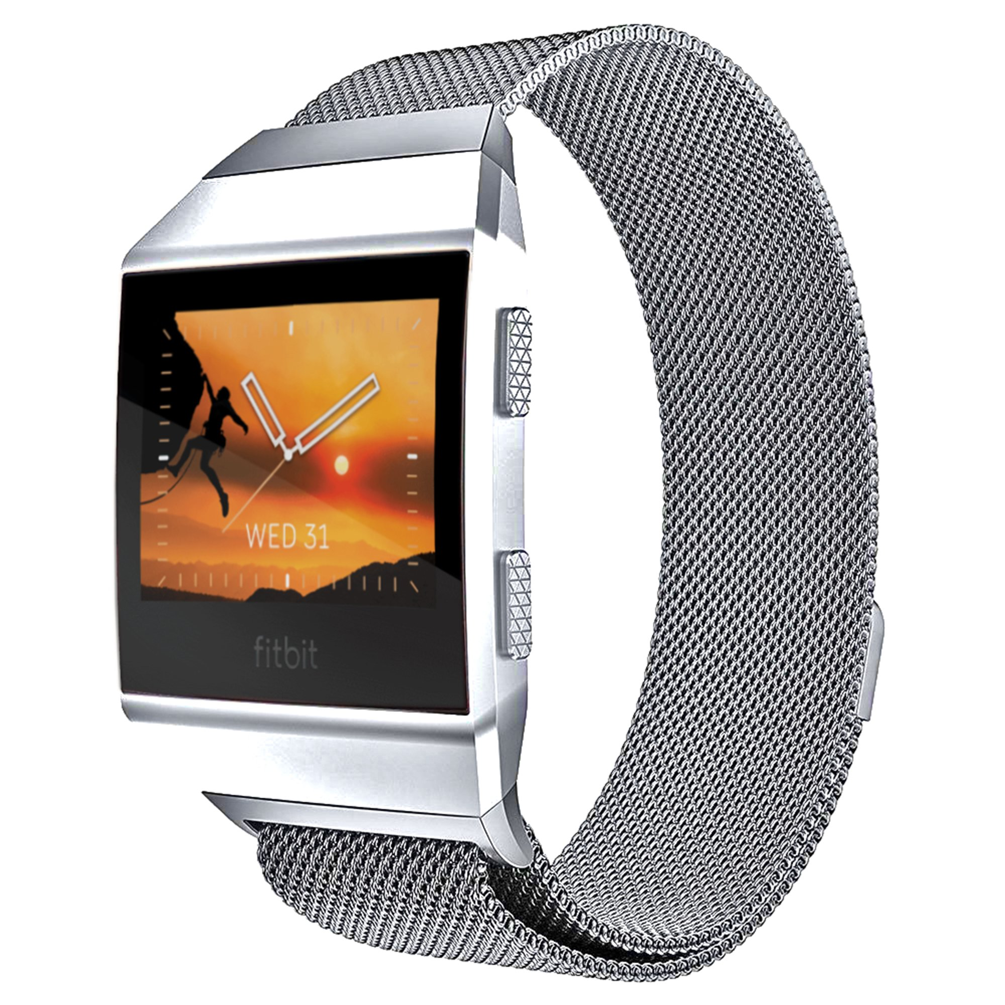 For Fitbit Ionic Milanese Band Small, Bandmax Milanese Stainless Steel Watch Band Mesh Metal Replacement Sport Strap with Magnetic Lock Milanese Loop for Fitbit Ionic Smartwatch Silver