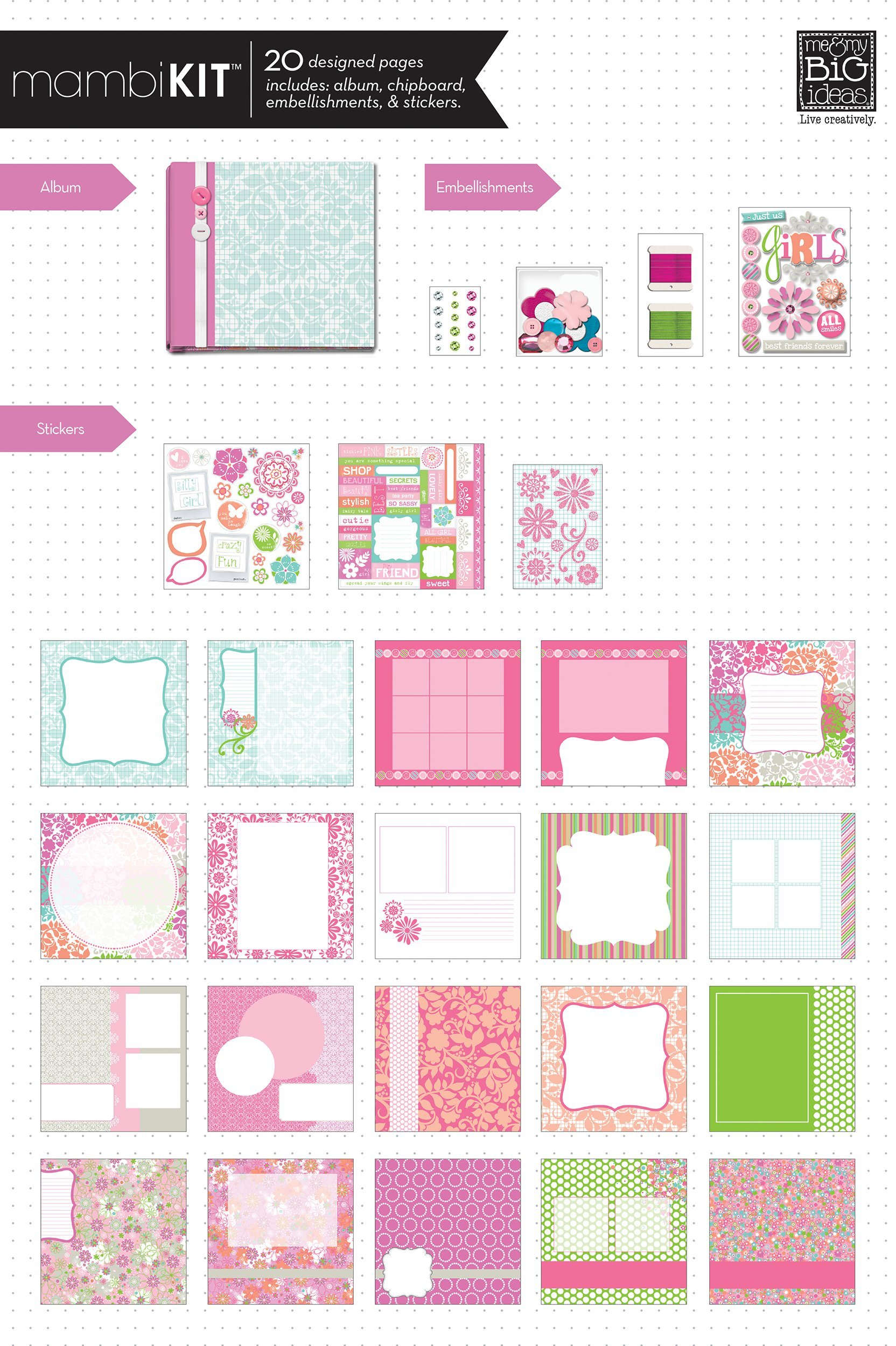 me & my BIG ideas Scrapbook Box Kit, The Ones I Love, 8-Inch by 8-Inch