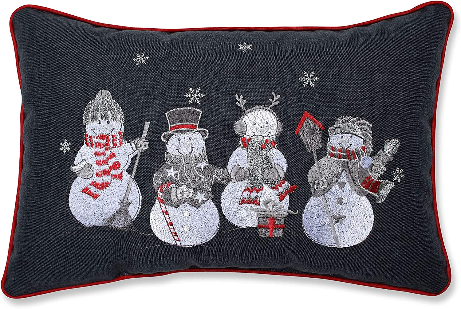 "Pillow Perfect Christmas Frosty & Friends Decorative Lumbar Pillow, 12"" x 18"", Multicolored"