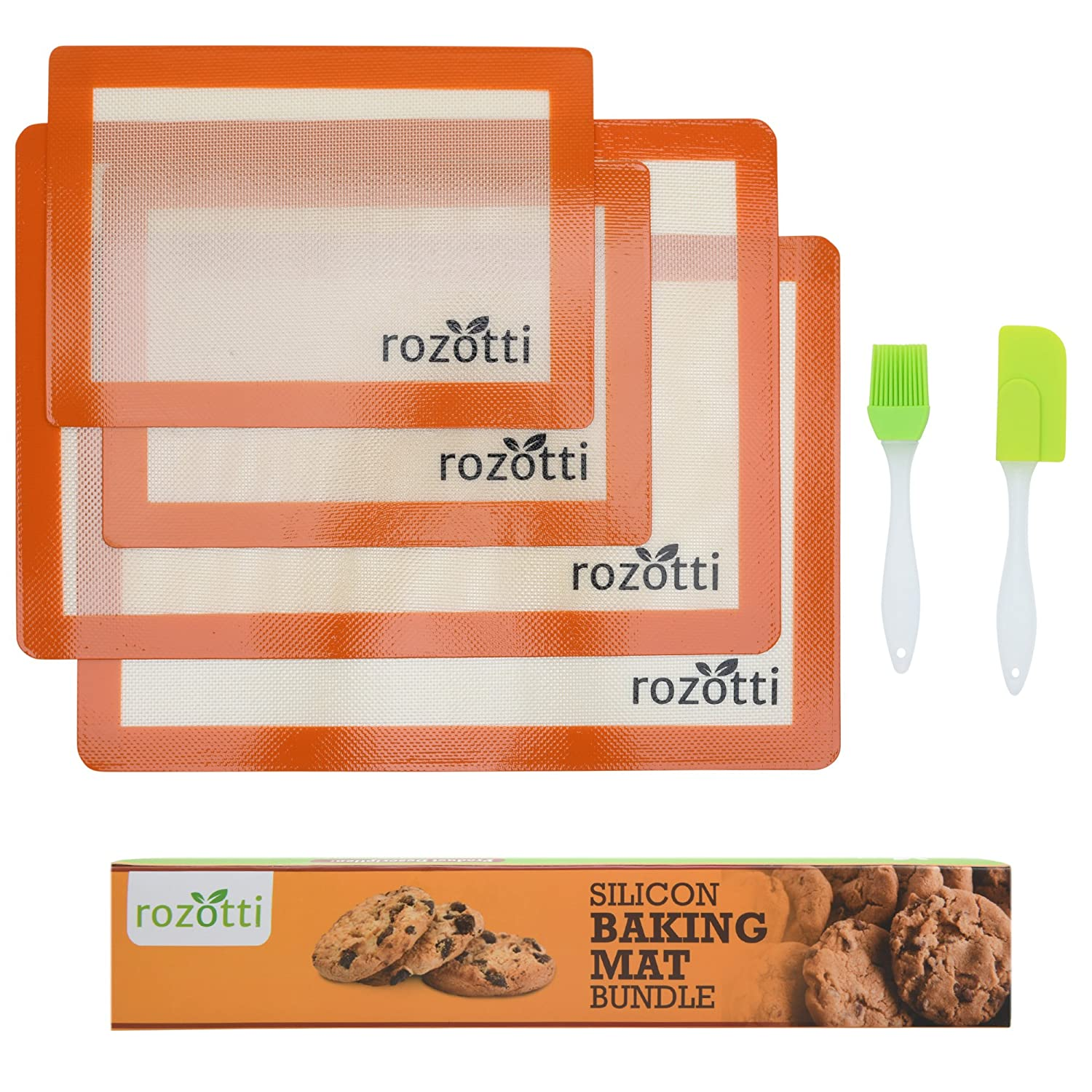 Rozotti Silicone Baking Mat Bundle (6-Piece Set) 2 Half Sheets Silicone Baking Mat and 2 Quarter Sheets Silicone Baking Mat, Silicone Baking Brush, Silicone Baking Spatula | Non-Stick, Heat-Resistant