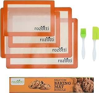 Rozotti Silicone Baking Mat Bundle (6-Piece Set) 2 Half Sheets Silicone Baking Mat and 2 Quarter Sheets Silicone Baking Mat, Silicone Baking Brush, Silicone Baking Spatula | Non-Stick, Heat-Resistant