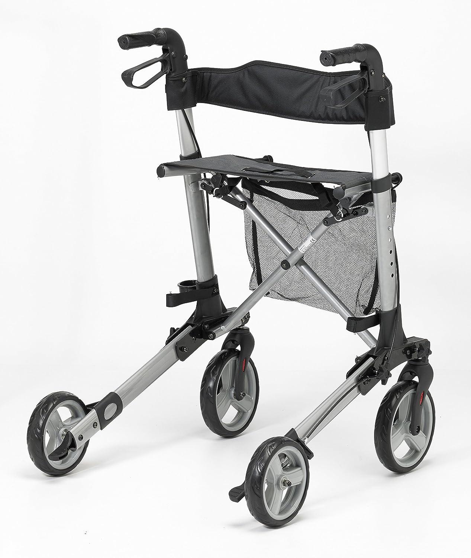 Patterson Medical 91439314 - Andador con ruedas, color negro y plateado