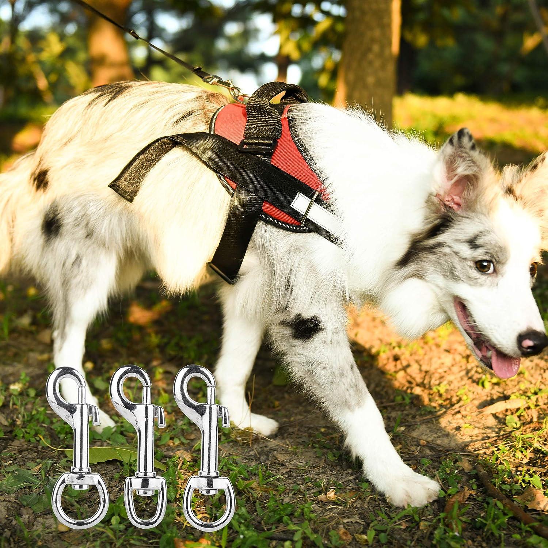 Silver Tugaizi 12 Pcs Snap Hooks Heavy Duty Nickel Plated Swivel Snap Hooks with Spring Pet Buckle Multipurpose Dog Leashes Key Chain 3 sizes