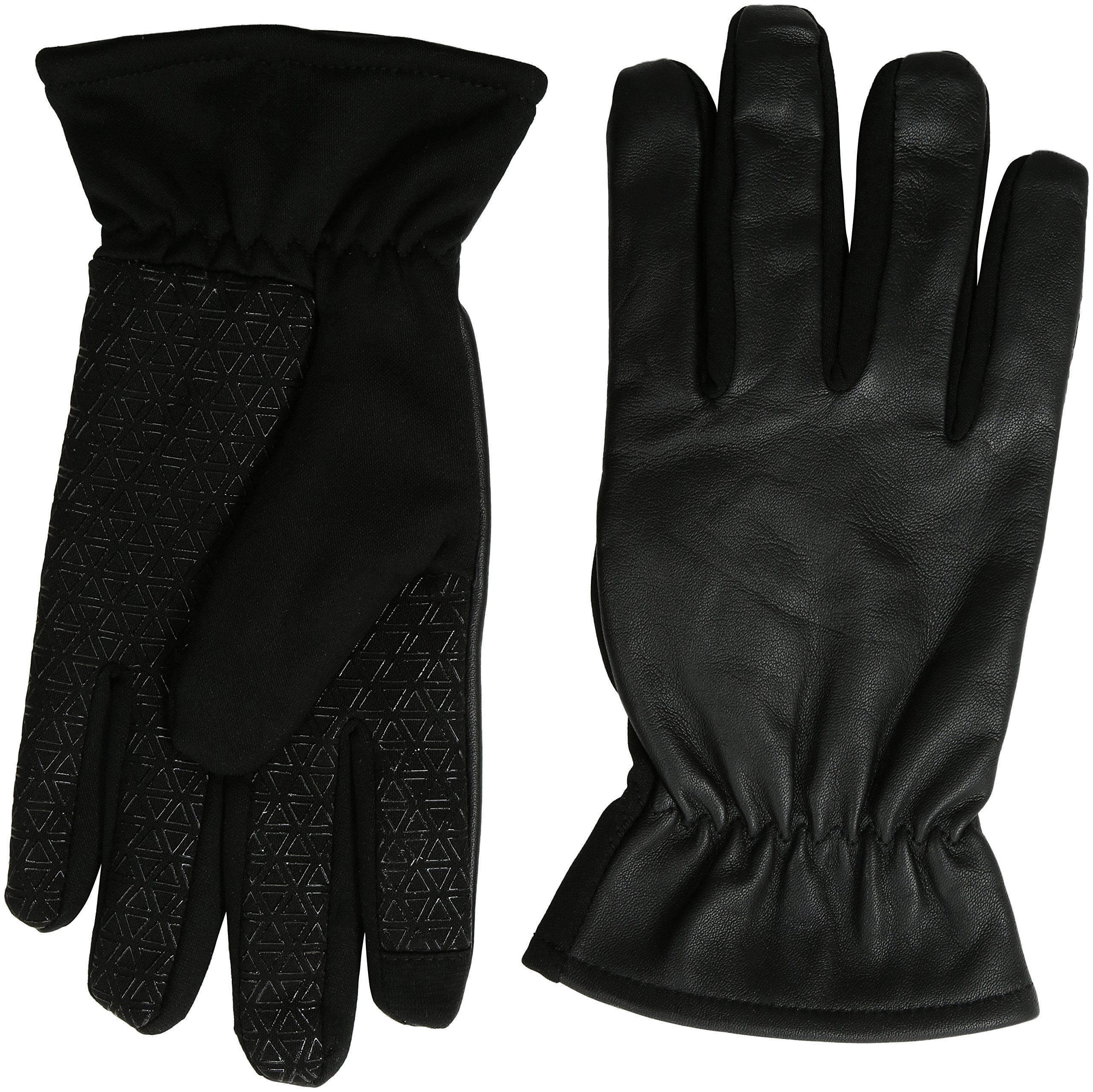 GII Men's Fine Leather and Softshell Touchscreen Gloves, Black, Large