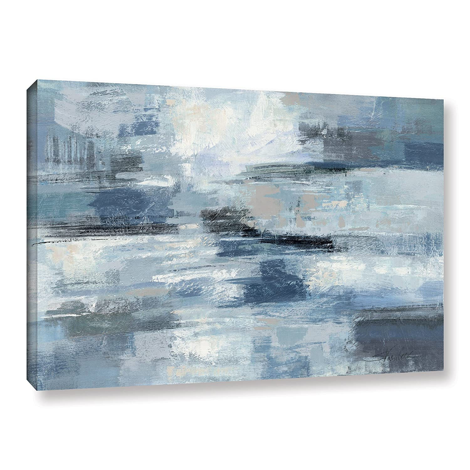 ArtWall Clear Water Indigo and Gray by Silvia Vassileva Blue Wall Art Abstract Gallery-Wrapped Canvas, 32X48, Picture for Home, Bedroom, Bathroom, and Living Room Decor