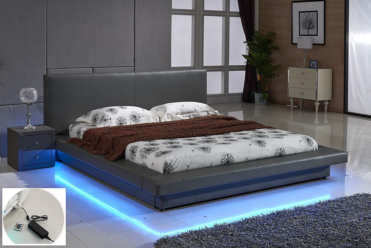Modern Platform Bed Cal King Grey Leather with LED Low Profile