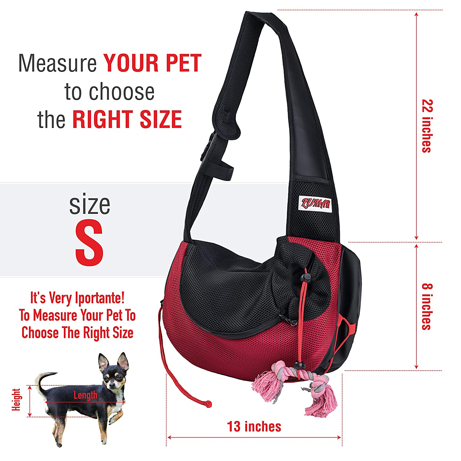 LUMAR Pet Sling Carrier for Dogs Two Size Adjustable S:1-5 Lbs M:6-13 Lbs The Only One Adapted Also for Car Seatbelt Connecting Safety a Toy for Traveling with The Small and Medium Dog