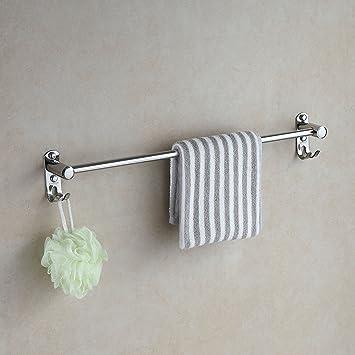 Eridanus, toallero de acero inoxidable, toallero con gancho para baño stante de ducha montado en pared (60 cm de largo)